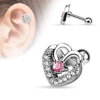 {Pink} CZ Paved Double Hearts with Pink CZ Center Steel Cartilage/Tragus Bar (Sold Individually)