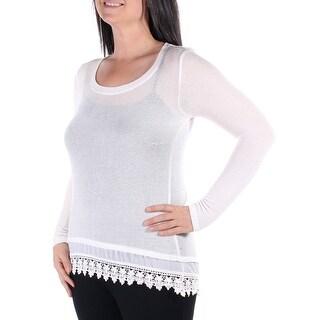 Womens Ivory Long Sleeve Jewel Neck Hi-Lo Sweater Size L