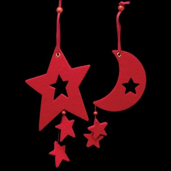 Club Pack of 18 Solid Red Color Large Moon & Star Felt Ornaments
