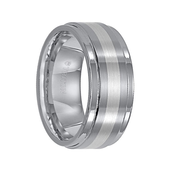 ENOCH Raised Brushed Center Tungsten Carbide Wedding Band with Polished Rounded Rims and Platinum Inlay by Triton Rings - 7 mm