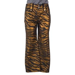 KENZO Womens Metallic Gold Tiger Stripe High-Rise Cropped Pants