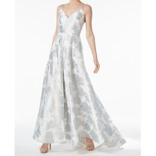 Calvin Klein Blue Womens V-Neck Metallic Gown Dress