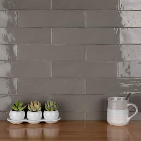 "SomerTile Chester Grey 3"" x 12"" Ceramic Subway Wall Tile"