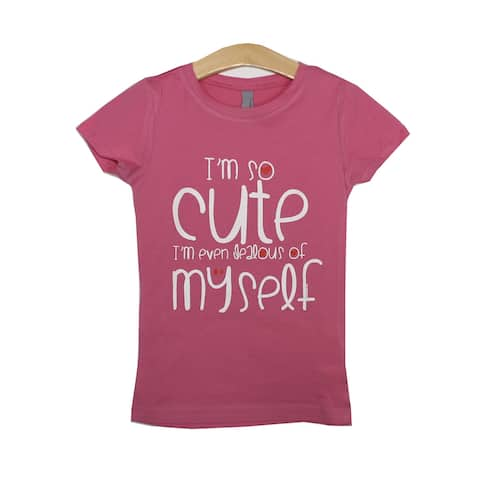 "Little Girls Pink ""I'm So Cute"" St. Valentine's Theme Print T-Shirt"