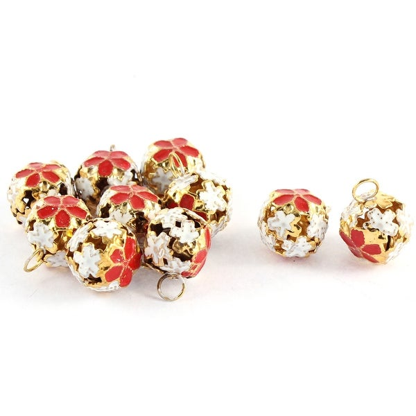 10pcs Christmas Party Decor Hollow Out Design Flower Shaped Ring Jingle Bell Red