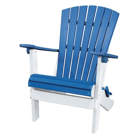 OS Home and Office Model 519BW Fan Back Folding Adirondack Chair Made in the USA- Blue, White