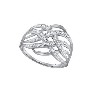 10kt White Gold Womens Round Natural Diamond Woven Cocktail Fashion Band Ring 1/20 Cttw