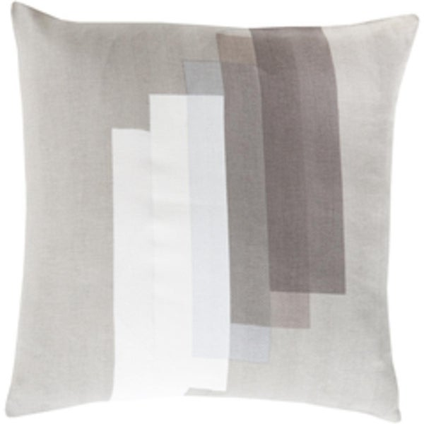"18"" White and Grey Geometric Pattern Woven Screen Printed Square Throw Pillow"