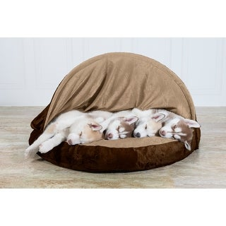FurHaven Pet Bed | Orthopedic Microvelvet Snuggery Burrow Dog Bed