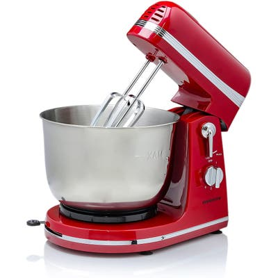 Ovente Kitchen Stand Mixer with 3.7 Quart Mixing Bowl, Red SM880RI