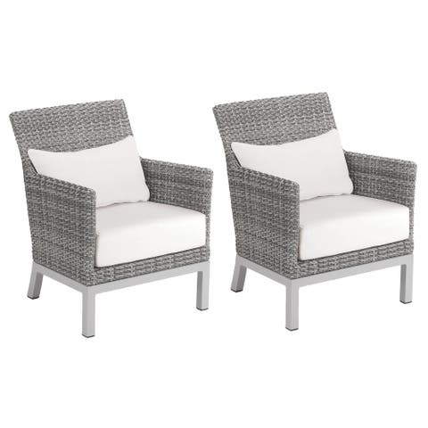 Oxford Garden Argento Resin Wicker Club Chair - Eggshell White Polyester Cushion and Pillow (Set of 2)