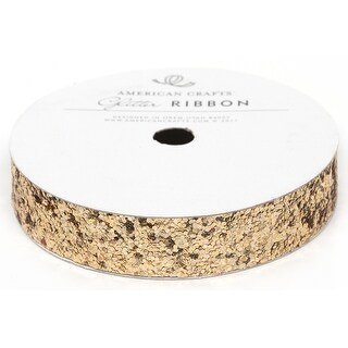 """Solid Large Glitter Ribbon .625""""X3yd-Gold"""