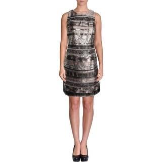 Kay Unger Womens Metallic Sleeveless Cocktail Dress