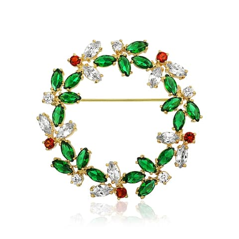 Christmas Holiday Round Wreath Pin Brooch Marquise Cubic Zirconia Multicolor Green Red Clear CZ 14K Gold Plated Brass