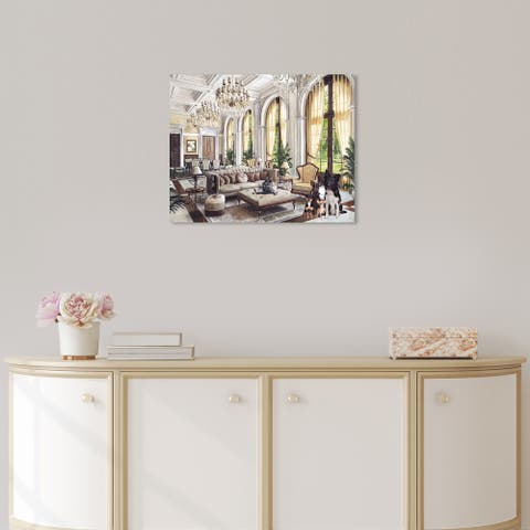 Oliver Gal 'Interior design Dogs' Animals Brown Wall Art Canvas Print