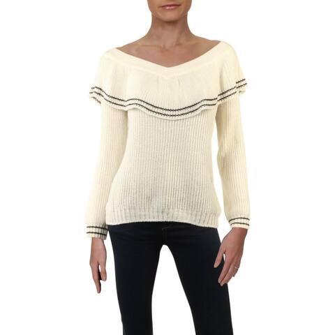 BB Dakota Womens Pullover Sweater Off-The-Shoulder Varsity Stripe - Ivory - L