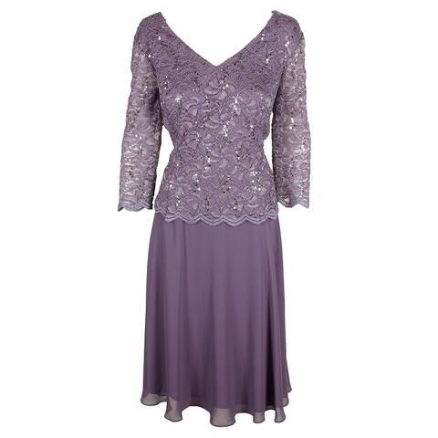 Alex Evenings Purple 3/4-Sleeve Lace Sequin Chiffon A-Line Dress 16