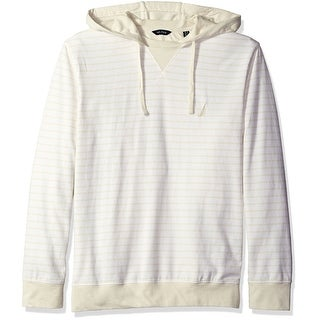 Nautica NEW White Ivory Mens Large L Hooded Bone Striped Shirt-Sweater