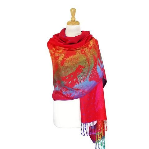 Colorful Rainbow Silky Tropical Pashmina Wrap Shawl Scarf