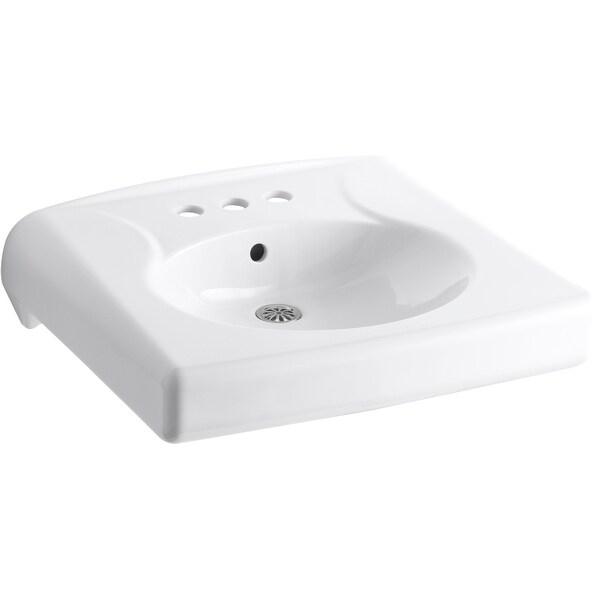 """Kohler K-1997-SS4 Brenham 22"""" Vitreous China Wall Mounted Bathroom Sink - White"""