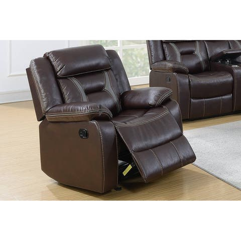 Gel Leatherette Glider Recliner