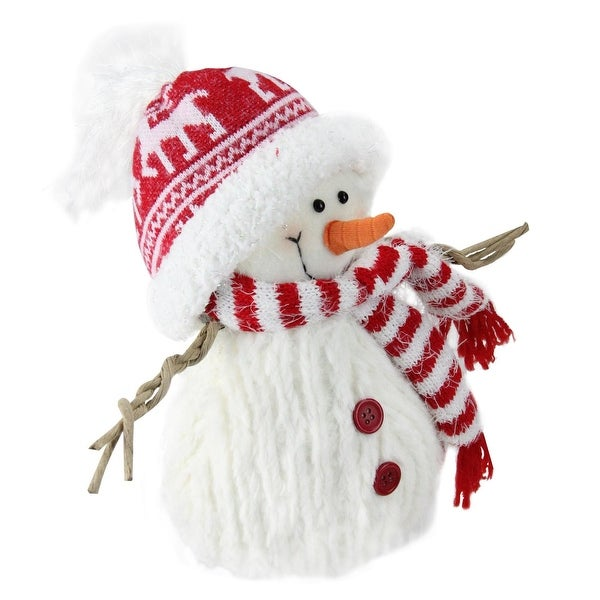 "9"" Red and White Fuzzy Smiling Snowman Christmas Figure Decoration with Red Hat and Scarf"