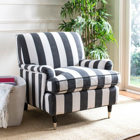 "Safavieh Chloe Black / White Stripe Club Chair - 29.3"" x 34.3"" x 31.5"""