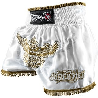 Hayabusa Garuda Muay Thai Fight Shorts - White/Gold - boxing mma trunks