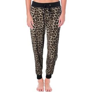 MICHAEL Michael Kors Womens Velour Leopard Print Track Pants