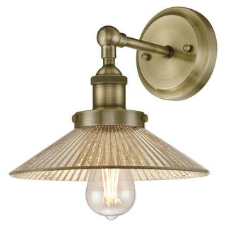 """Westinghouse 6337400 BONNIE 1-Light 9-7/16"""" Tall Wall Sconce with Antique Mirror Glass Shade - ANTIQUE BRASS - n/a"""