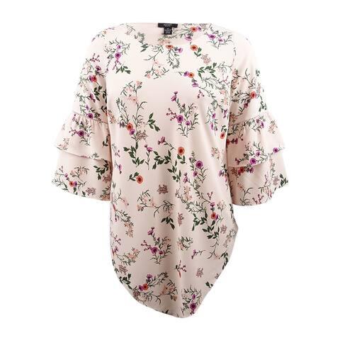 Alfani Women's Plus Size Ruffle-Sleeve Pointed-Hem Tunic - Emma Botanical