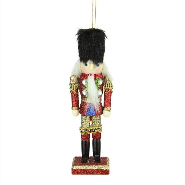 """6"""" Red and Gold Wooden Glittered Christmas Soldier Nutcracker Ornament"""