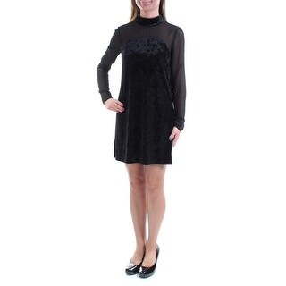Womens Black Long Sleeve Above The Knee Shift Casual Dress Size: 2XS