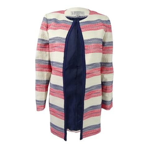 Tahari ASL Women's Petite Striped Flyaway Blazer - ivory/navy/poppy