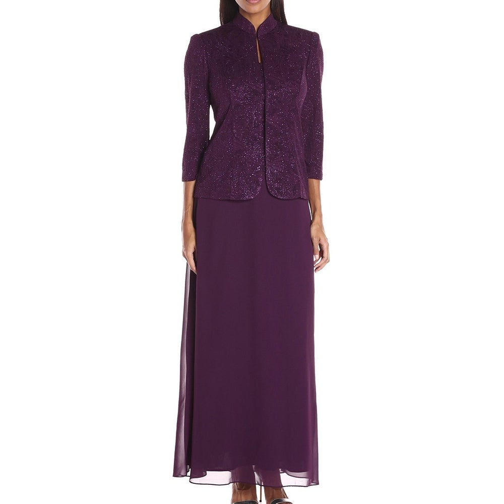 Alex Evenings Womens Jaqcuard Dress Purple Size 18 Gown 2-Piece Jacket