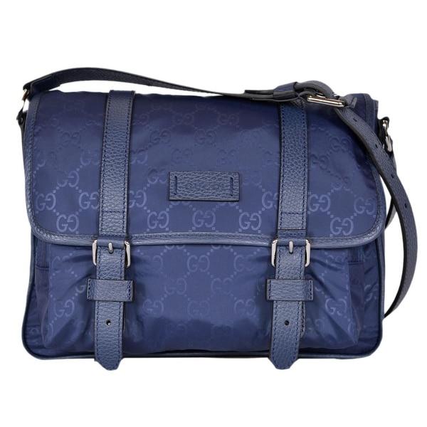 387410b795b8 Gucci 510335 Blue Nylon Leather GG Guccissima Messenger Bag Crossbody Purse  - 11.5