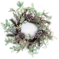 """24"""" Gold Glitter Red Holly and Frosted Pine Cone Christmas Wreath - Unlit"""