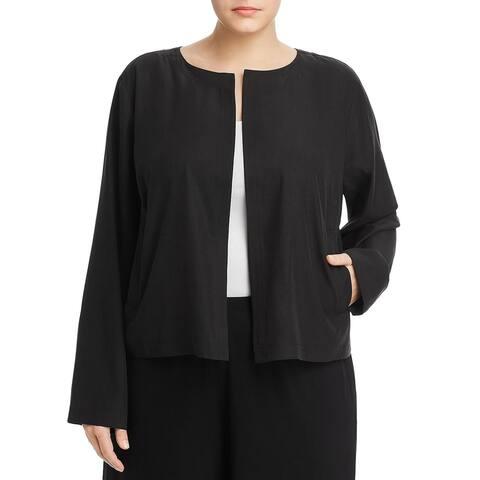 Eileen Fisher Womens Plus Jacket Open Front Round Neck - Black