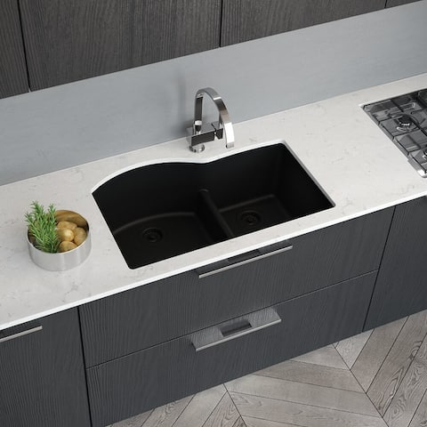 R3-1008 Double Offset Bowl Low Divide Undermount Granite Quartz Sink. Two Grids, and Matching Colored Strainer and Flange