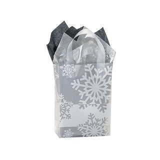 """Pack of 25, Cub Snowflake Flurry Plastic Bags 4 Mil Shopping Bags 8 X 4 X 10"""" For Christmas Packaging"""