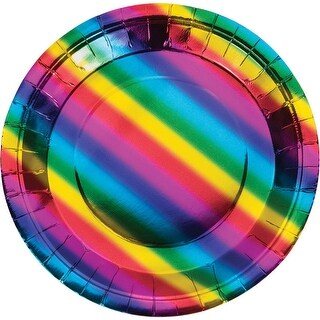 Club Pack of 96 Multi color Disposable Rainbow Foil Dinner Plates 9""