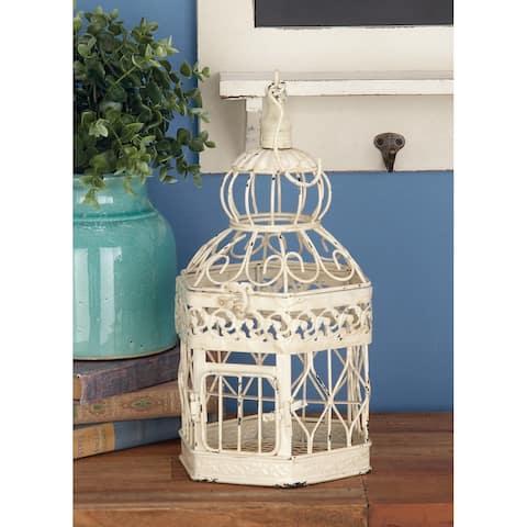 White Iron Vintage Birdcage (Set of 3) - 12 x 12 x 21Round