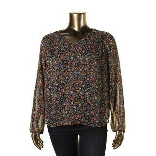 Daniel Rainn Womens Lace Inset Printed Blouse