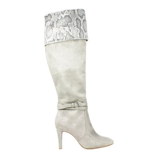 Knee Boot Light Grey Suedette Fabric
