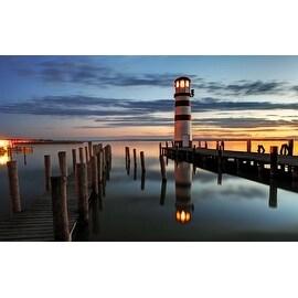 "LED Lighted Coastal Sunset Lighthouse Scene Canvas Wall Art 15.75"" x 23.5"""