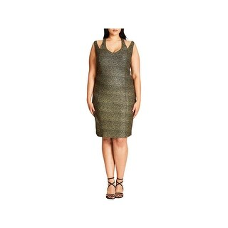 City Chic Womens Plus Cocktail Dress Metallic Strappy