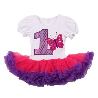 Baby Girls White Purple Number Butterfly Applique Birthday Tutu Dress 1-2 Years