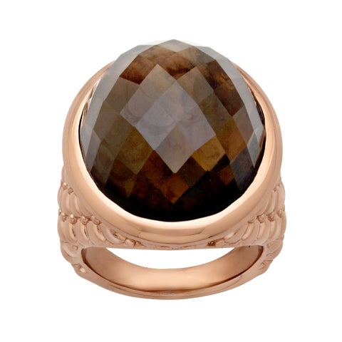 22 ct smoky Quartz Ring in 18K Rose Gold Plate