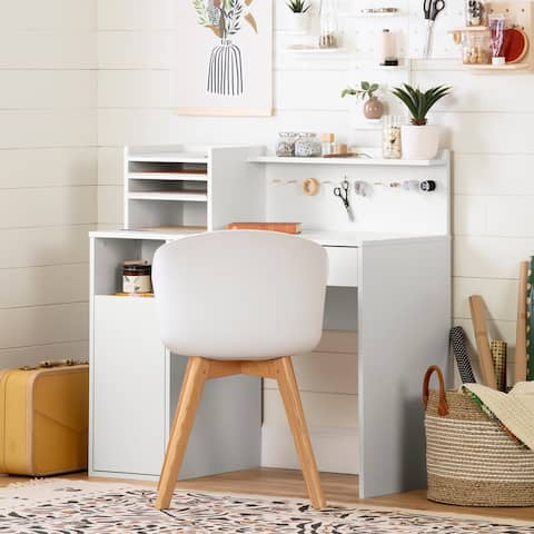 South Shore Crea Modern Craft Table with hutch