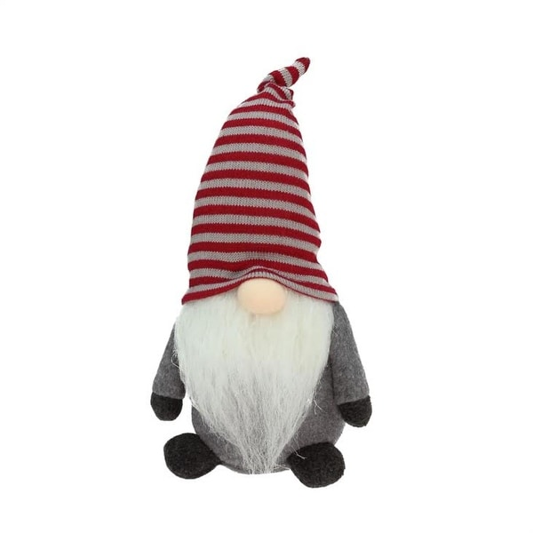 "10"" Red and Gray ""Marvin"" Chubby Sitting Santa Gnome Plush Table Top Christmas Figure"